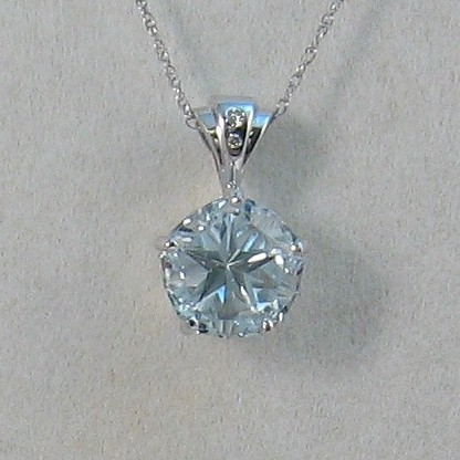 Pendant with blue Mason County Texas topaz, Lone Star Cut, 10mm, 5.11 ct stone