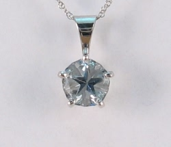 Rare blue Texas topaz Lone Star Cut in pendant