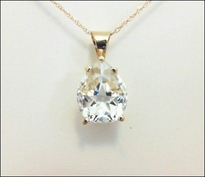 Pear shape Lone Star Cut, Mason County Texas topaz - pendant in 14kt gold