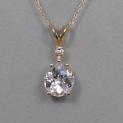 Pear shape Lone Star Cut, Mason County Texas topaz - pendant in 14kt gold with diamond accent