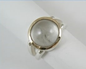 Mason County topaz cabochon ring with gold accent