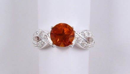 Citrine and sparkling CZ's intertwined in silver