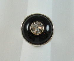 Ring - white Mason County Texas Lone Star Cut topaz in black onyx.